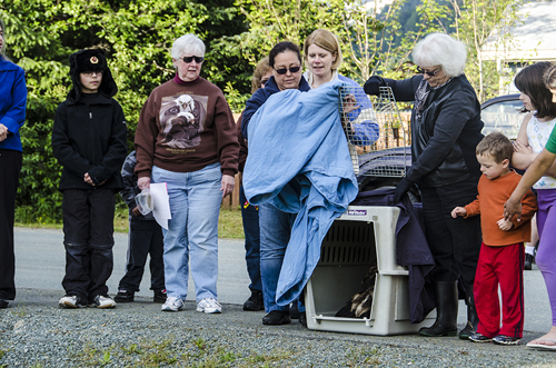 Kay Gray, right, lifts the cover off of Aquila's crate.