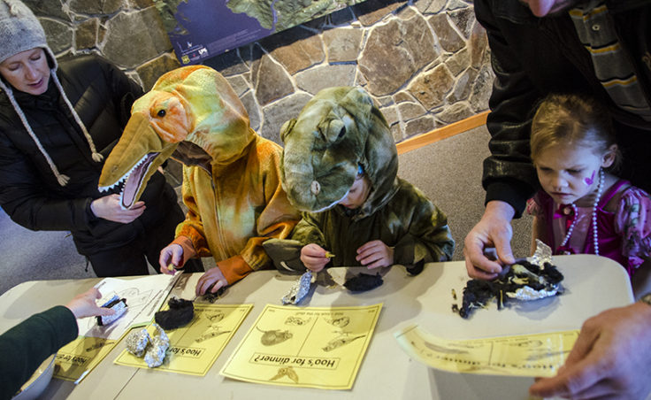 Hayden, 6, (orange and yellow dinosaur) and Brenne,5, (green dinosaur) dissect owl pellets.