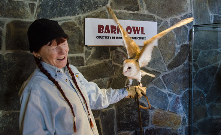 Irene Morrise and Nugget the barn owl teach children about owls.