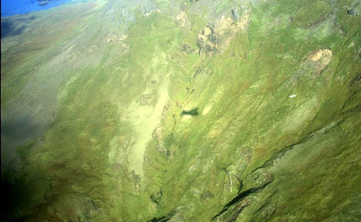 View of Kiska hillside where Lt. Henry Hubbard's B-24 went down.