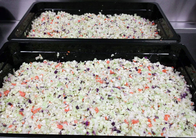 Juneau students ate Carrots and cabbage from Charlie's Produce in the Mat-Su Valley on Alaska Local Foods Day.