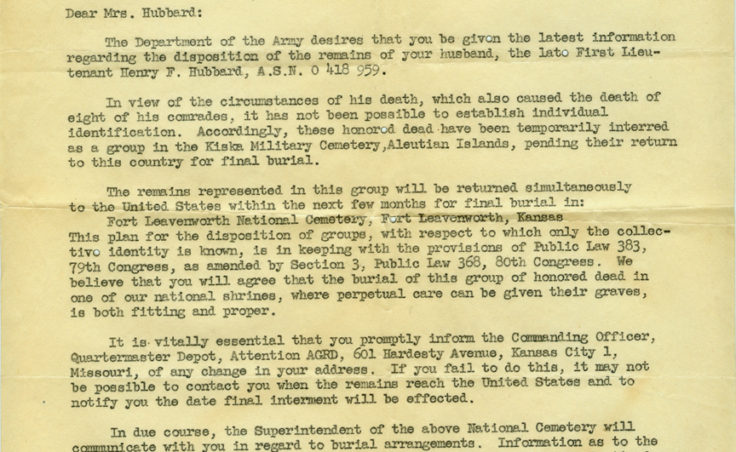 Department of the Army notification letter.