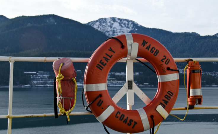A life preserver on the deck of the Healy.