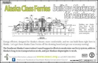 This poster from the Southeast Alaska Conservation Council promoted the Alaska Class Ferry over road-building.