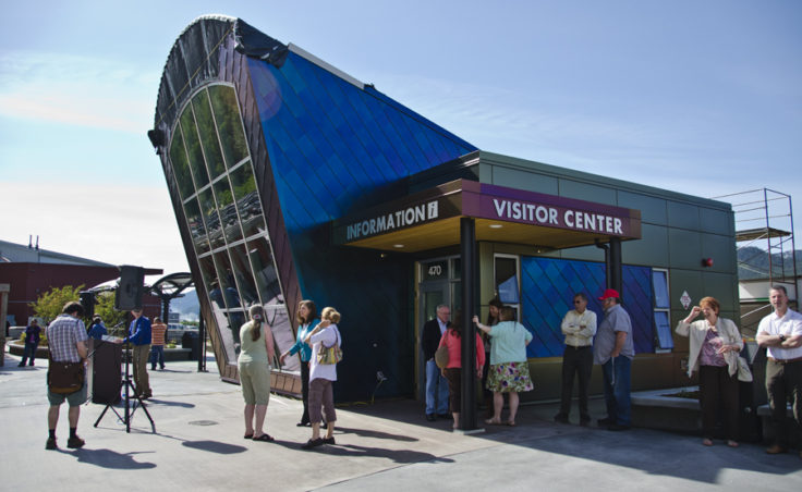 Visitors stop by the new waterfront visitor center in Juneau in 2012. Roughly 1 million people visit Juneau by cruise ship each summer.