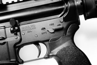 Close up photo of an AR-15 rifle similar to the one used in the Newtown shooting.