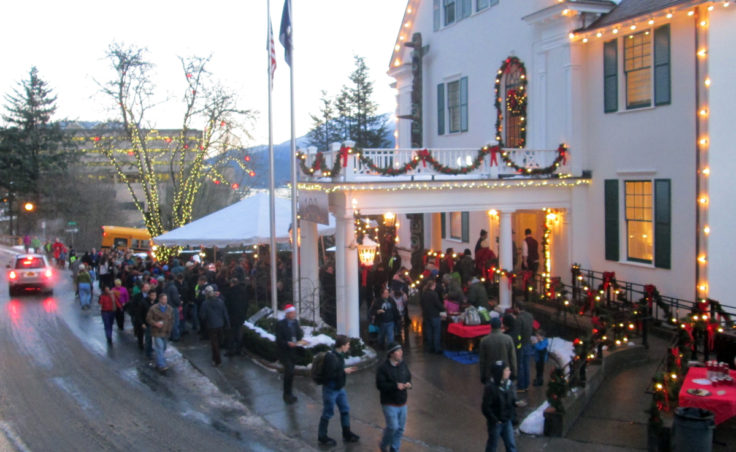 The Governor's mansion is cloaked in holiday lights in downtown Juneau.
