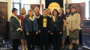 The women members of the Alaska House Majority Caucus don special camouflage scarves in support of a pair of gun rights bills on Monday's House floor calendar. (House Majority Press handout)