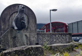 Juneau Douglas High School sign