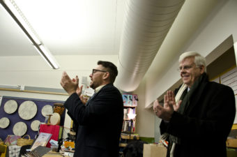 Visitors from the Kennedy Center clap after watching a performance by students at Glacier Valley Elementary.