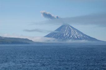 Mount Cleveland erupting ash on November 16, 2010. Alaska, Aleutian Islands, Kagamil Island. (Photo by Mandy Lindeberg, NOAA/NMFS/AKFSC)