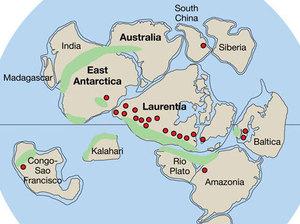 Rodinia. Mauritia is shoehorned between India and Madagascar. United States Antarctic Program/Wikipedia Commons