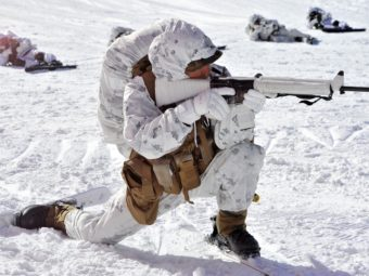 A U.S. Marine taking part in a winter drill in South Korea last month. Jung Yeon-je/AFP/Getty Images