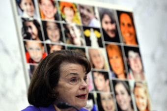 """Pictures of Newtown's Sandy Hook Elementary School shooting victims are displayed as Senate Judiciary Committee chairperson Dianne Feinstein speaks during a hearing on """"The Assault Weapons Ban of 2013"""" at the Hart Senate Office Building in Washington, DC, on February 27, 2013. Jewel Samad /AFP/Getty Images"""