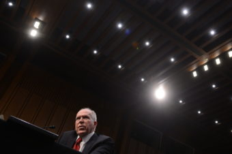 John Brennan testifies during his confirmation hearing before the Senate Intelligence Committee in Washington, on February 7, 2013. Saul Loeb /AFP/Getty Images