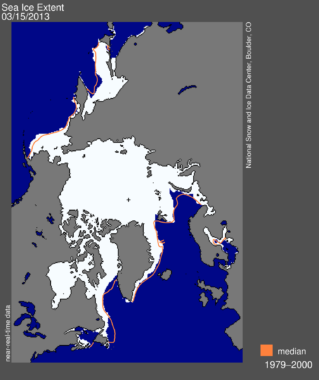 Chart of arctic sea ice extent on March 15