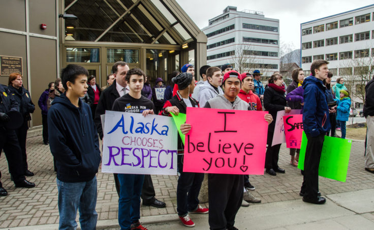 Signs at the rally. (Photo by Heather Bryant/KTOO)