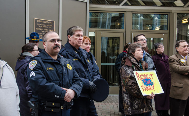 Members of the Juneau Police Department and Juneau detachment of the Alaska State Troopers attended the rally. (Photo by Heather Bryant/KTOO)