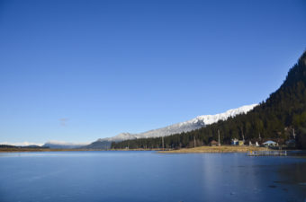 A bright blue sky shines over Twin Lakes.
