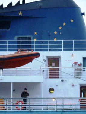 The ferry Matanuska docks in Wrangell, giving a passenger a chance to make a cell phone call. (Ed Schoenfeld/ CoastAlaska News)