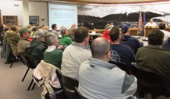 The April 1 permit hearing drew a large crowd.