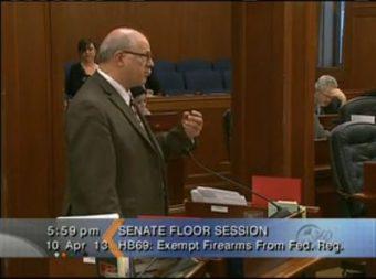 Sen. John Coghill speaks on the bill during the Senate Floor session.