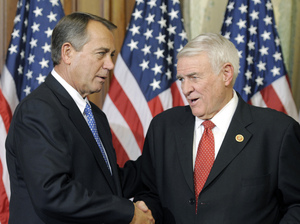Texas Republican Rep. John Carter (right), a member of the bipartisan group, with House Speaker John Boehner in January. Cliff Owen/AP