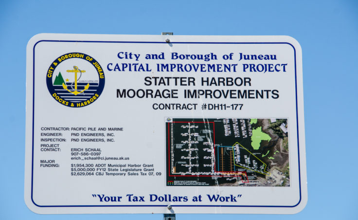 A sign explaining the Statter Harbor Moorage Improvements