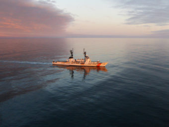 The Coast Guard Cutter Hamilton steams toward Barrow to perform a search and rescue drill for the first time in the arctic in 2008.