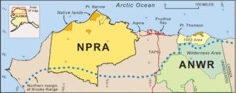 Map of northern Alaska showing location of Arctic National Wildlife Refuge, ANWR-en:1002 area, and the National Petroleum Reserve-Alaska (NPRA).