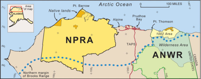 Map of northern Alaska showing location of Arctic National Wildlife Refuge, ANWR-en:1002 area, and the National Petroleum Reserve-Alaska (NPRA).