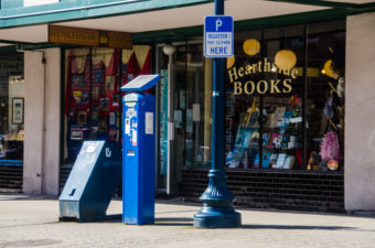 A parking pay kiosk in downtown Juneau.