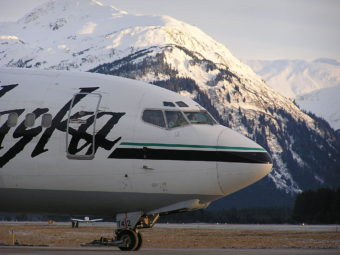An Alaska Airlines plane at Juneau International Airport on March 3, 2003.