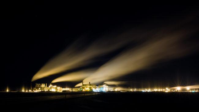 Prudhoe Bay at night on Jan. 28, 2013.