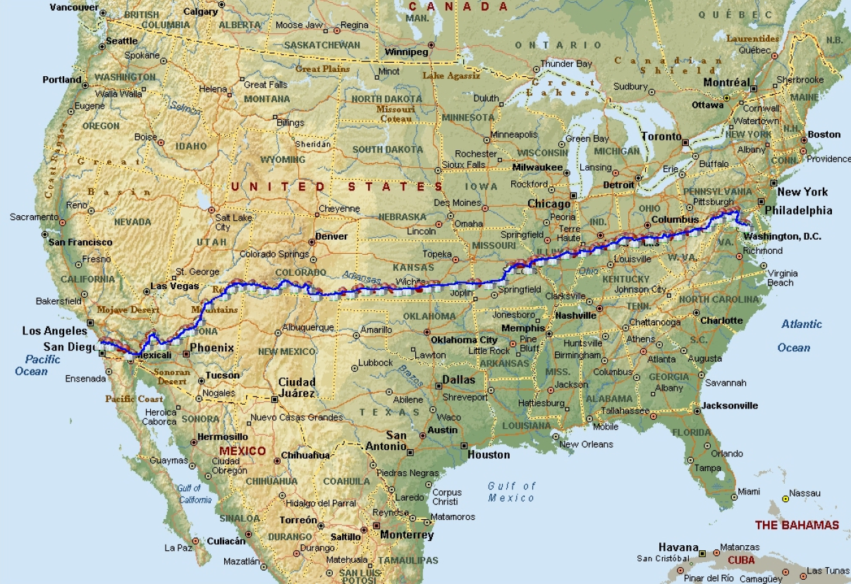 Map Of America By Race.Raam Route Map Ktoo