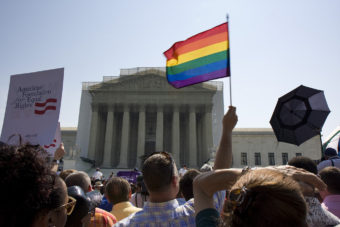 The crowd outside the Supreme Court yesterday.