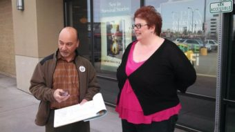 """The Barnes and Noble in Anchorage has been a regular spot for signature gatherers backing a referendum to repeal a tax cut on oil companies. (Via the """"Yes Repeal the Giveaway"""" Facebook page)"""