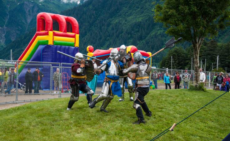Medieval fighting demonstration at the Douglas celebration