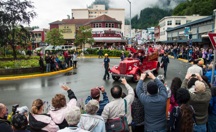 The old Douglas fire truck in the Juneau parade.