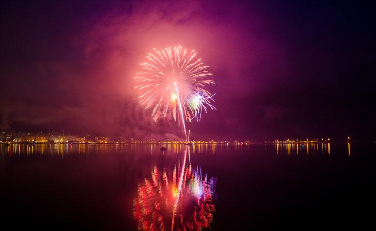Fireworks over Juneau's harbor.