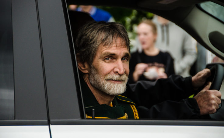KTOO's Jeff Brown was a Grand Marshall of the Juneau parade