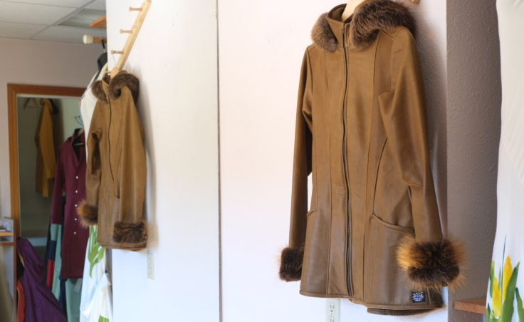 A picture of a leather coat