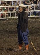 A photo taken of the clown who wore a mask resembling President Obama during a rodeo at the Missouri State Fair on Saturday. Jameson Hsieh/AP