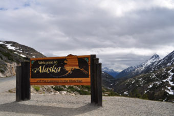 Welcome to Alaska Sign on the Klondike Highway