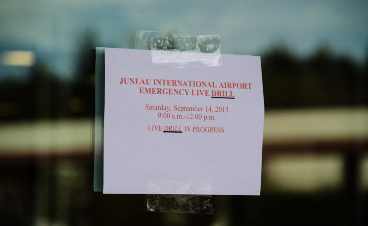 Officials placed signs around the airport to alert the public to the drill.