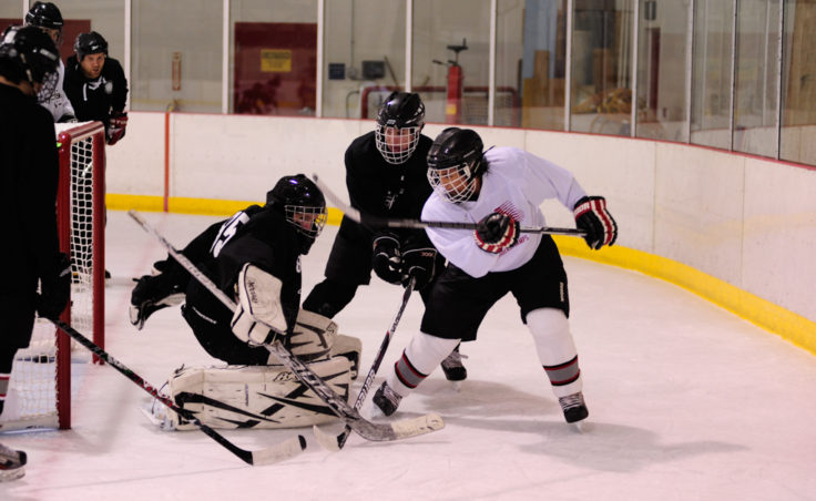 Shane Moller (white) and Grant Ainsworth mix it up in front of the net during a small-area drill led by Juneau's Matt Boline.