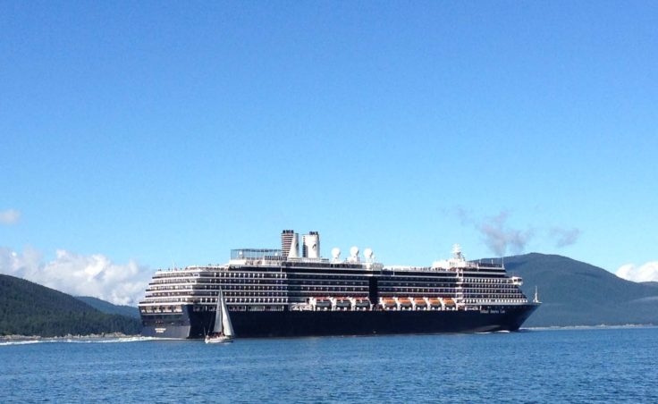 Sailboats often have to share their race course with cruise ships. (Photo by Heidi Olson)