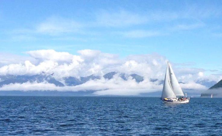 Loaa Nalu, skippered by Jim Mahan, heels over in Stephens Passage. (Photo by Tim Olson)