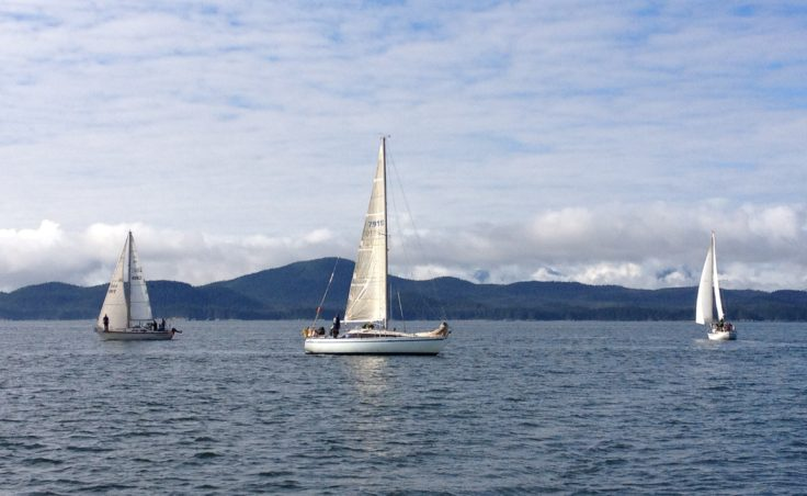 The third day of the Labor Day Regatta went from Taku Harbor to Sheep Creek. (Photo by Lisa Phu/KTOO)