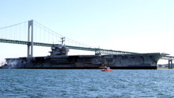 The decommissioned aircraft carrier USS Forrestal departs Newport, R.I., for a three-day cruise to Philadelphia in 2010. MCCS Melissa F. Weatherspoon/U.S. Navy